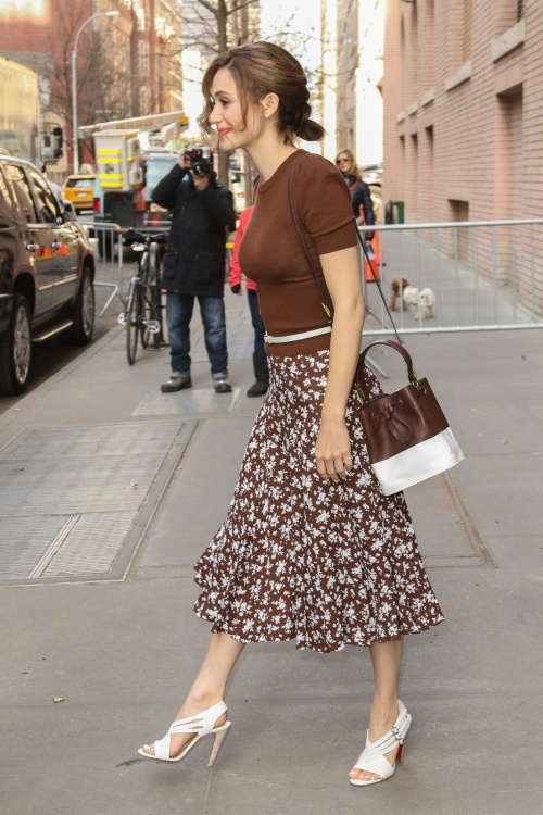 Emmy Rossum is seen leaving ABC studios after making an appearance on 'The View' in New York City